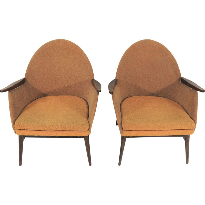 Pair of 2 Armchairs in wood and fabric, 1970s