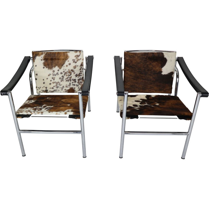 Pair of Pony Skin Armchairs Model, LC1 by Le Corbusier for Cassina, 1970s Italy
