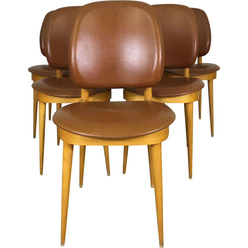 Suite of 5 Baumann chairs, Pegasus model circa 1960