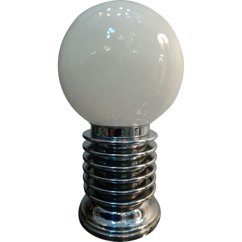 Vintage chrome and opaline table lamp, 1970