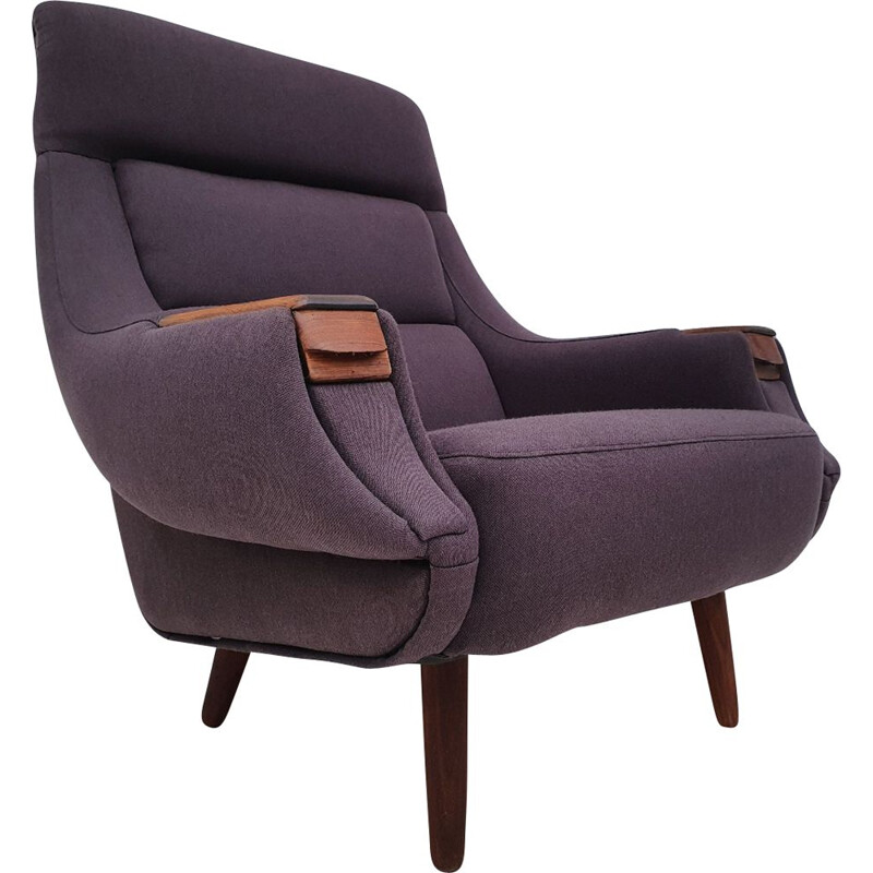 Vintage Danish Armchair by Henry Walter Klein in wool fabric and rosewood, 1970s