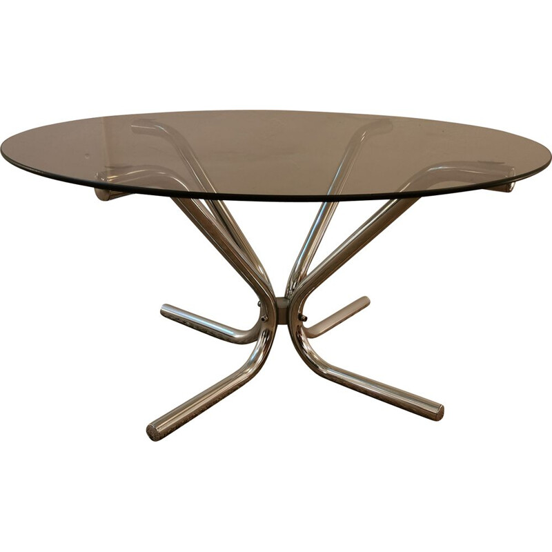 Vintage coffee table in chrome and smoked glass 1970