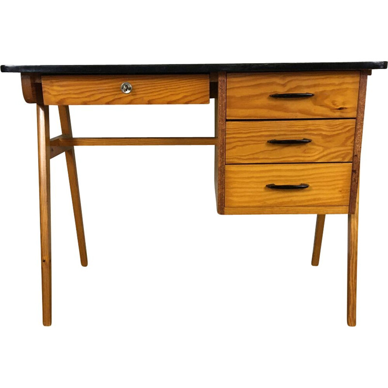 Vintage desk in pitchpin, France 1950