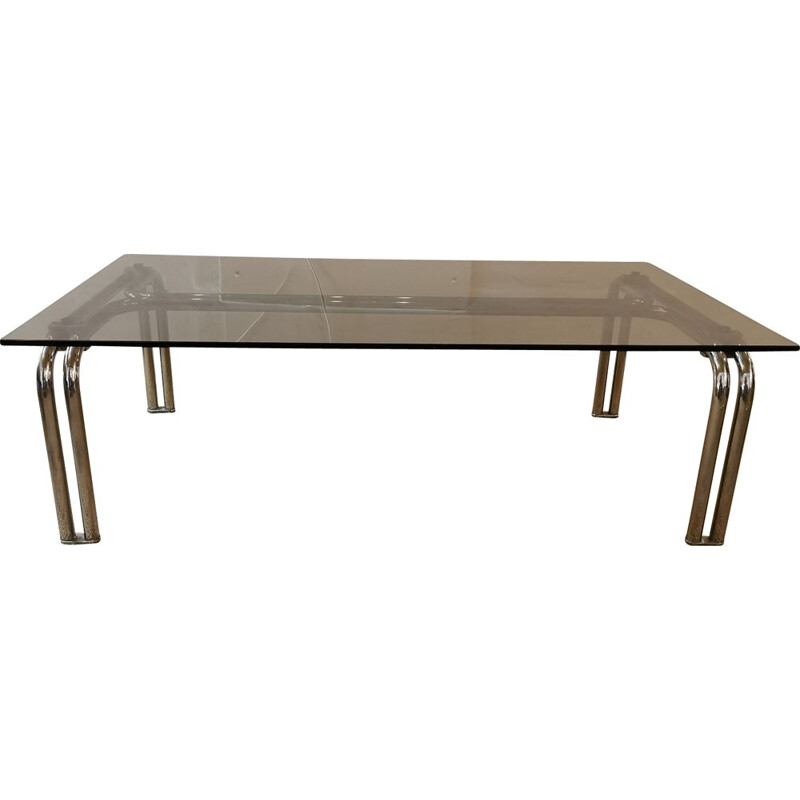 Large vintage coffee table in chrome and brown smoked glass, 1970s