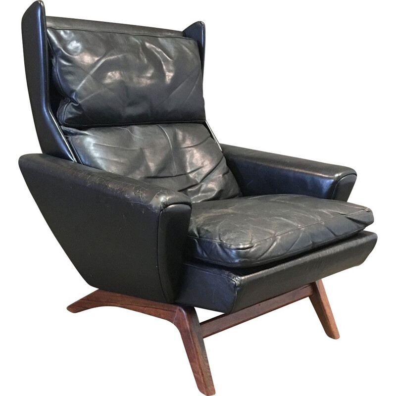 Vintage scandinavian armchair in rosewood and black leather 1950s