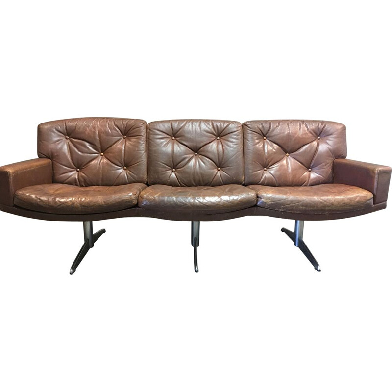 Vintage 3-seater leather and chrome sofa 1950