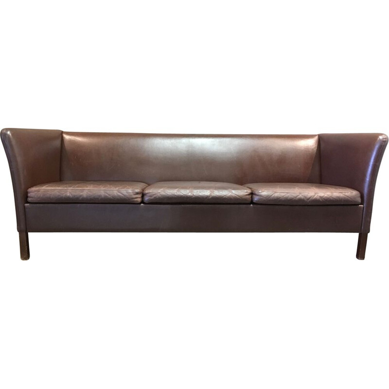 Brown leather 3 seater Scandinavian vintage leather sofa 1960