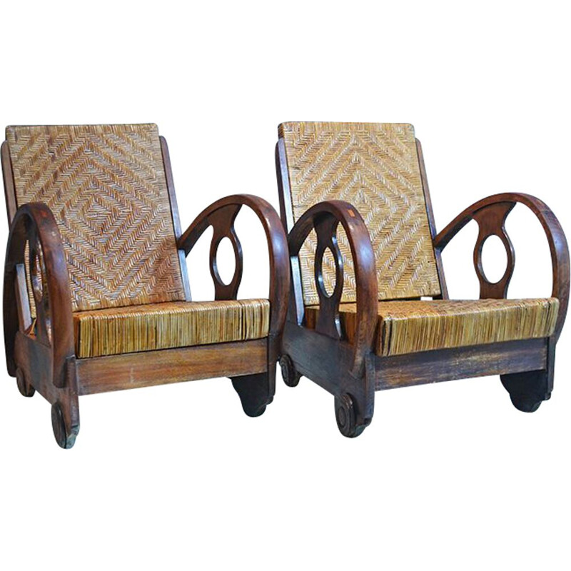 Pair of At Deco Dutch Teak And Rattan Armchairs