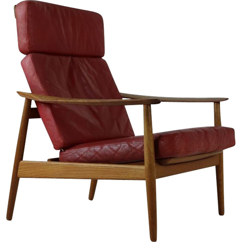 Vintage leather easy lounge chair by Arne Vodder for France and Son