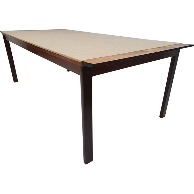 Vintage Danish conference table by Hans Olsen in rosewood and leather 1970