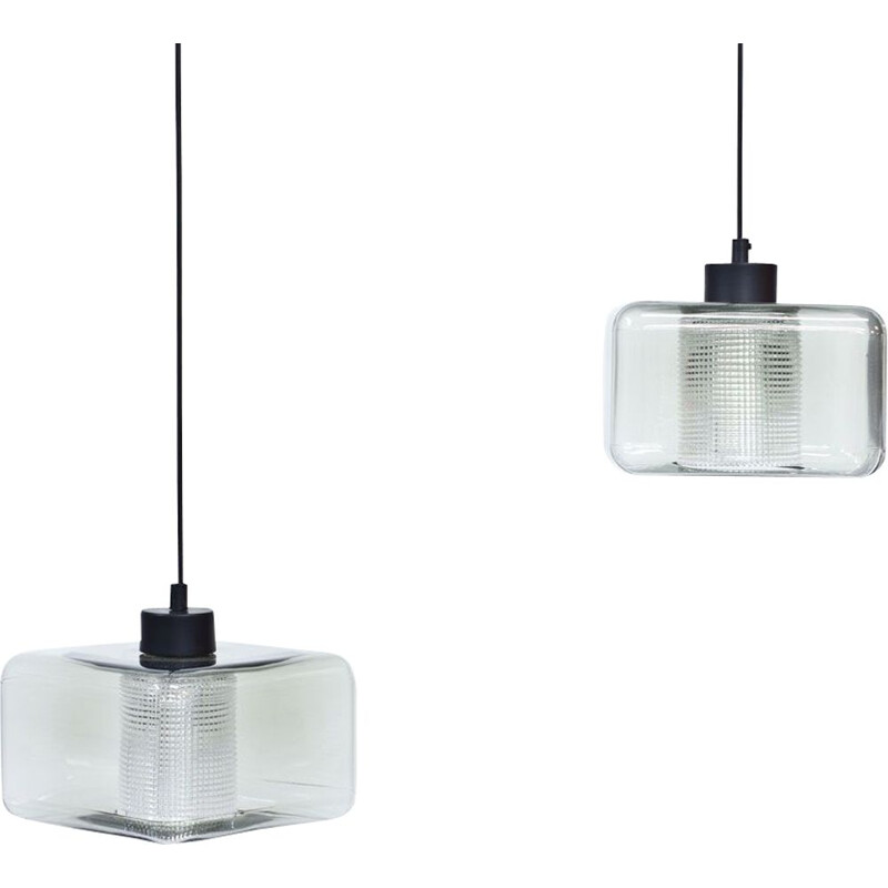 Vintage pair of Glass Pendant Lamps by Carl Fagerlund for Orrefors