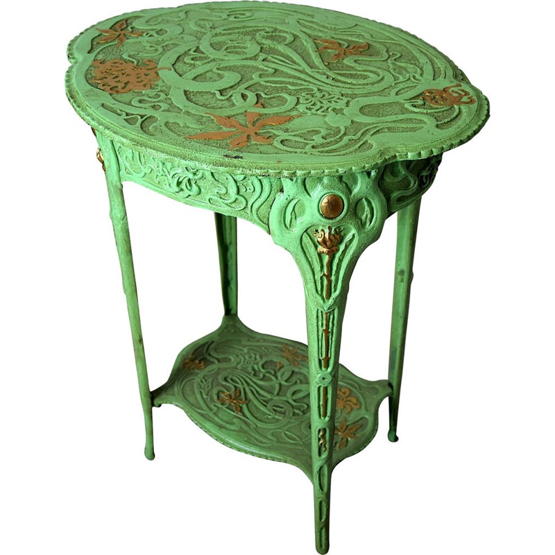 Vintage Green and Gold Art Nouveau Cast Iron Side Table