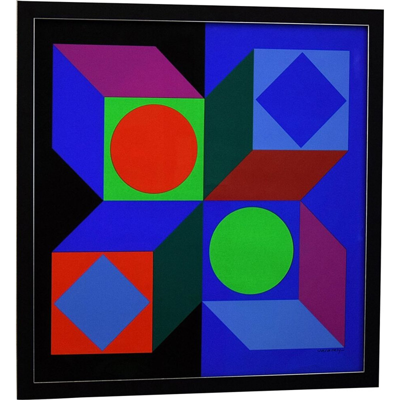 Vintage Victor Vasarely Op Art Silk Screen Print, 1968