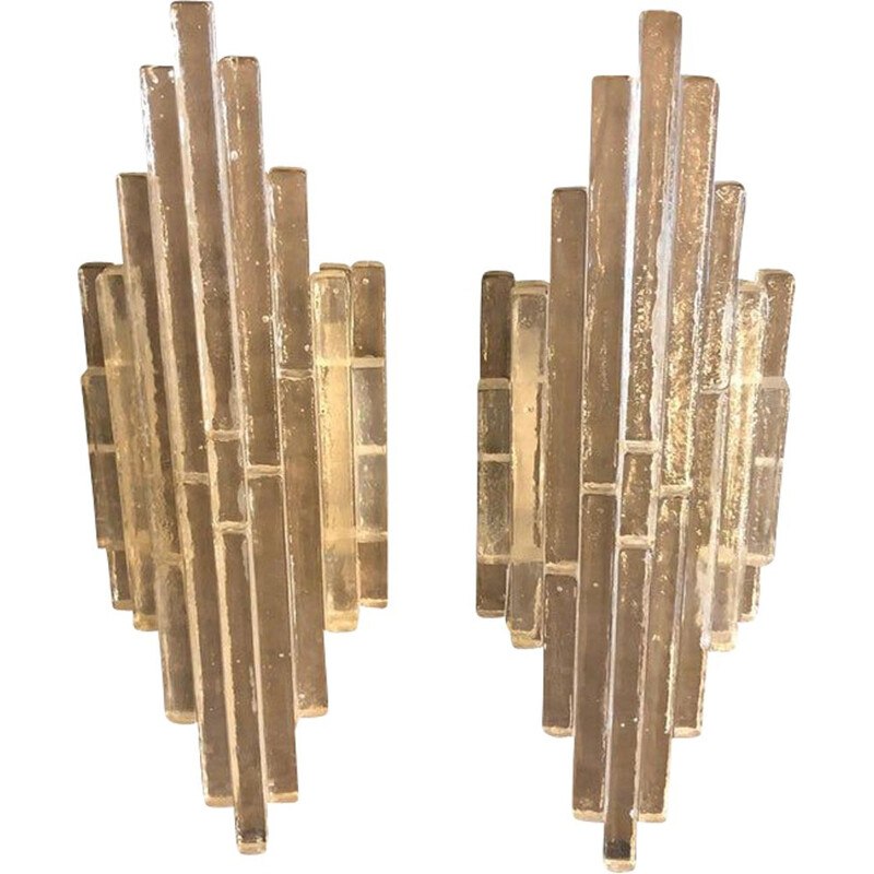 Set of Two vintage Wall Sconces by Albano Poli for Poliarte, 1960