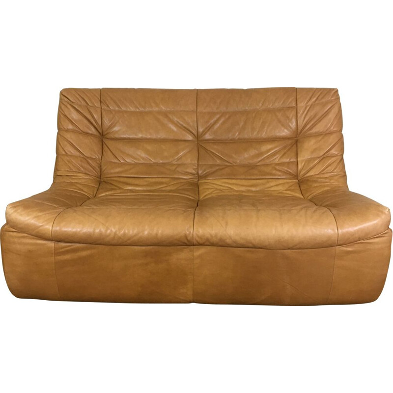 Vintage Sofa in aniline tawny leather 1970