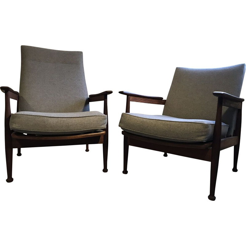 "Lounge set ""Manathan"" with 2 armchairs and 1 pouf by Guy Rogers 1960s"