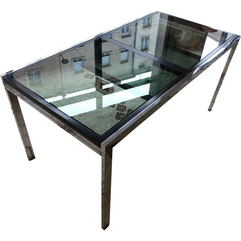 Vintage Italian glass table with extension