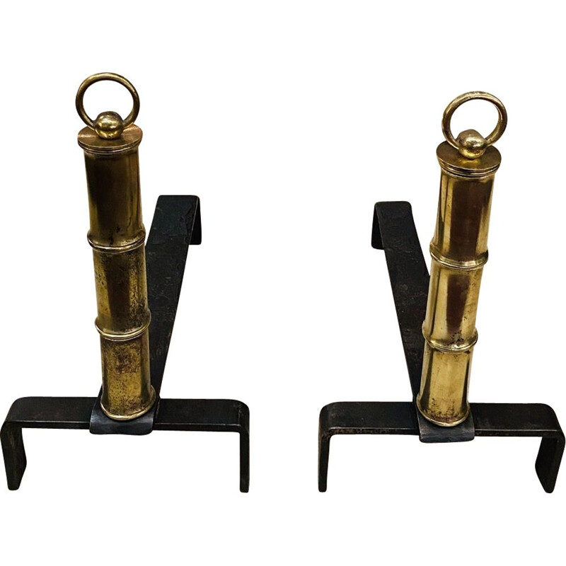 Vintage pair of andirons in brass and steel by Jacques Adnet