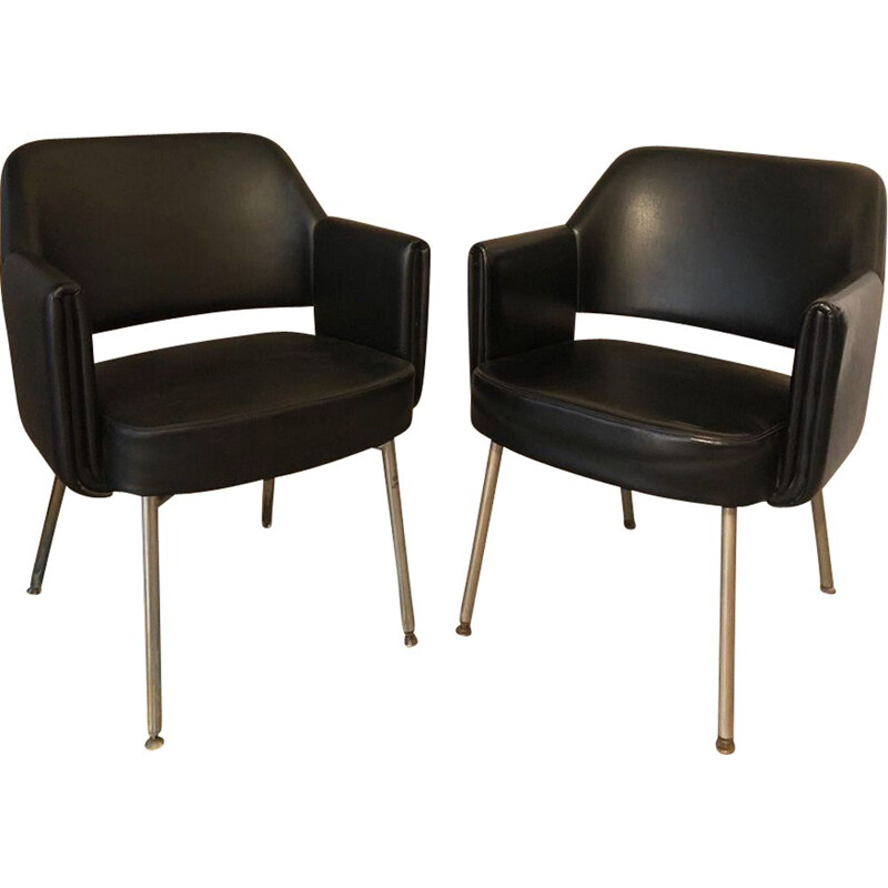 "Pair of vintage ""Deauville"" armchairs by Marc Simon for Airborne, 1960"