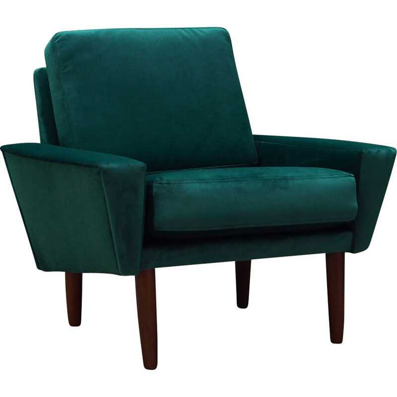 Vintage armchair in green velour, Scandinavian design, 1960-1970