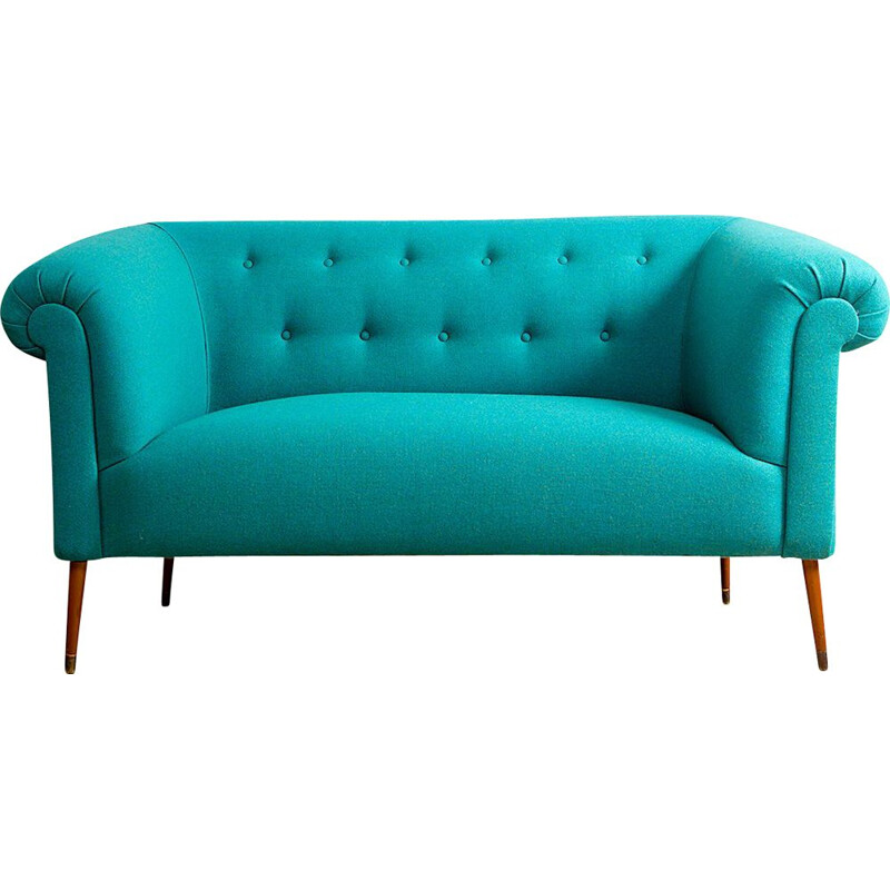 Vintage blue drop down Chesterfield sofa