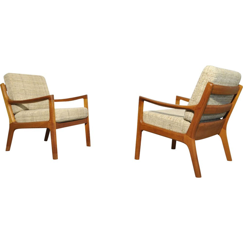 "Vintage elegant teak easy chairs ""Senator series"" by Ole Wanscher for Cado, 1960s"