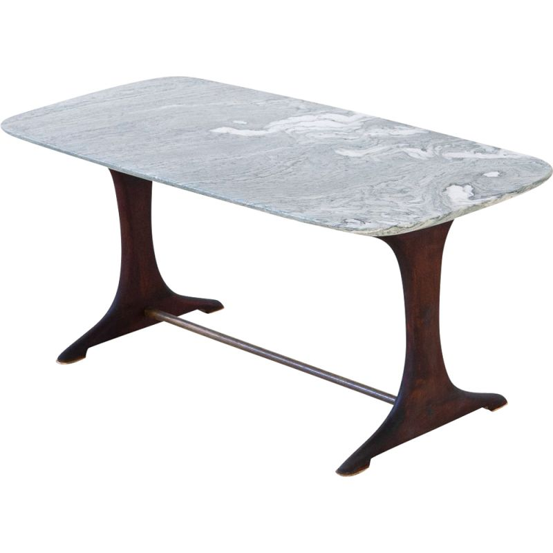 Vintage Italian low table with marble top 1950s