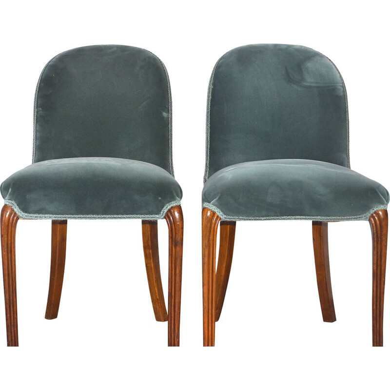 Pair of vintage walnut and velvelt chairs