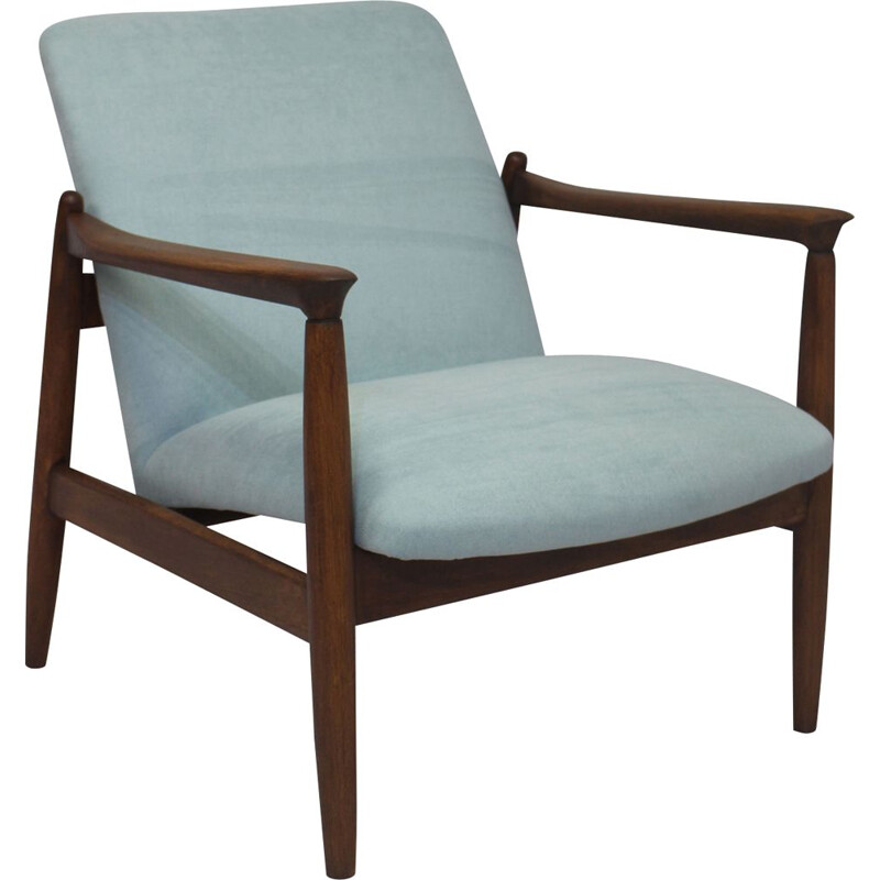 Vintage GFM-142 blue cloth armchair by Edmund Homa 1960