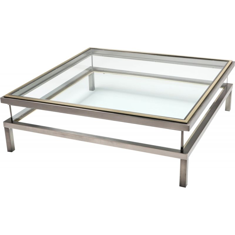 Vintage sliding coffe table in chrome and brass by Maison Jansen 1970