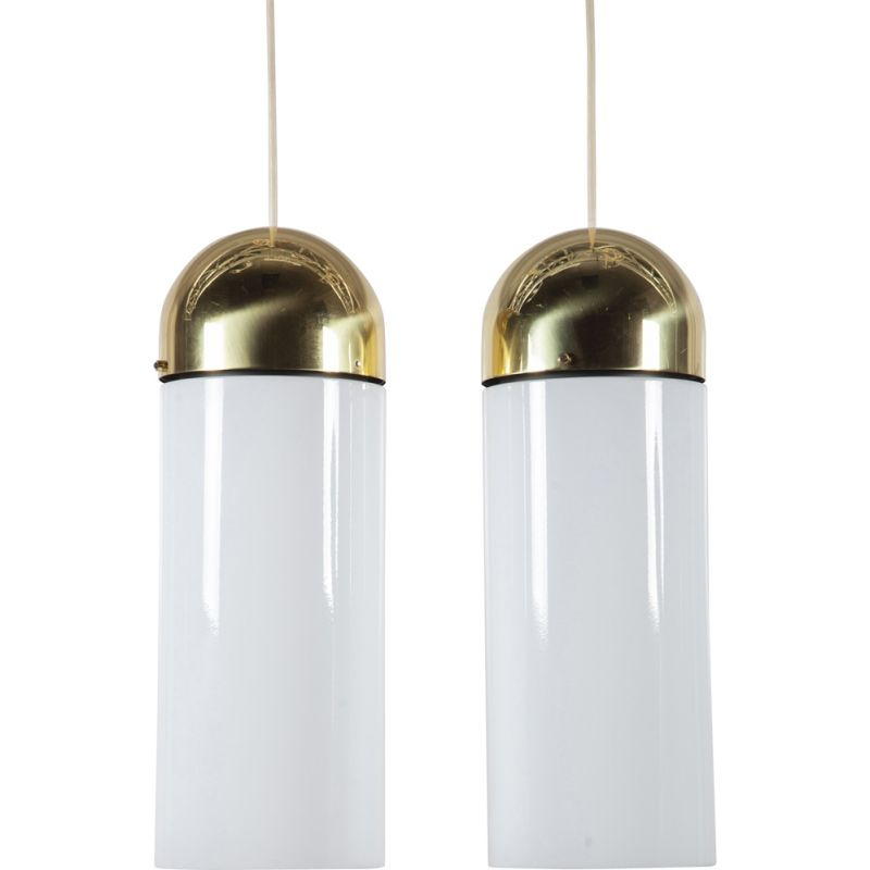 Pair of 2 vintage large glass and brass ceiling Lamps by Limburg