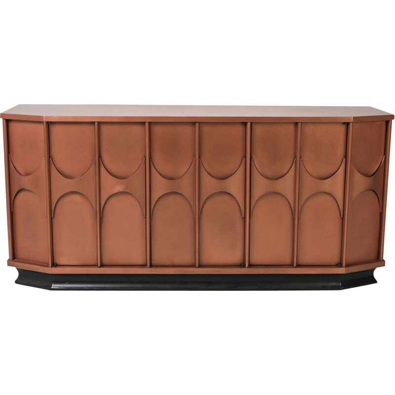 Vintage brutalist sideboard in copper lacquer 1960s