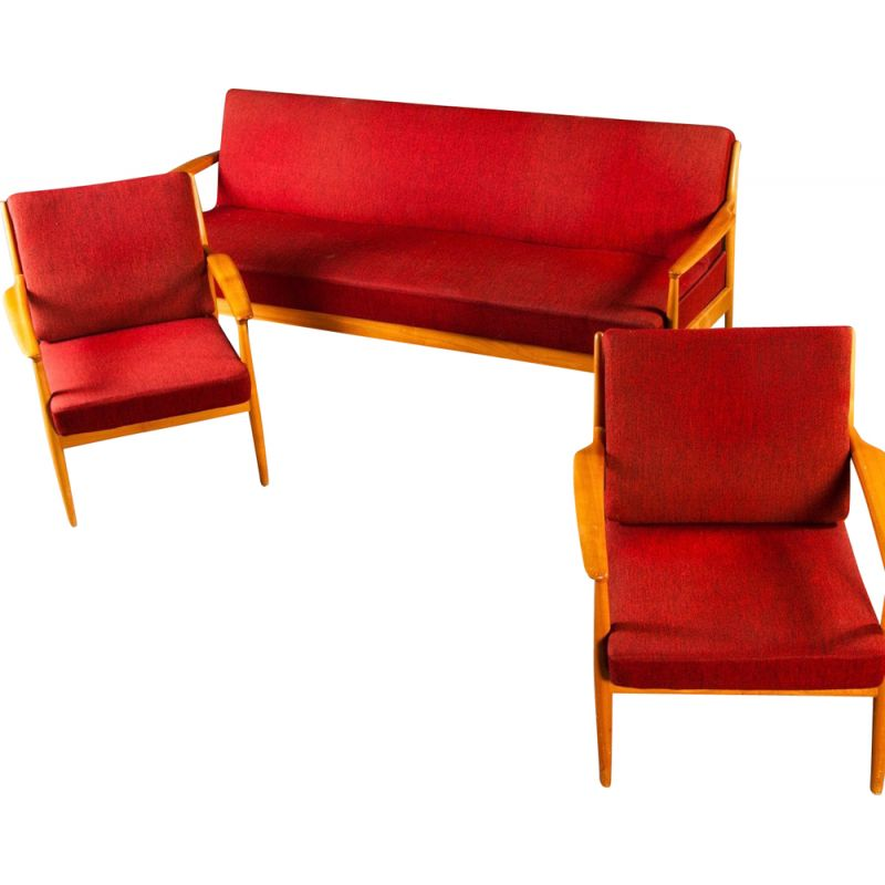 Sofa or daybed and two designer armchairs by Casala 1950