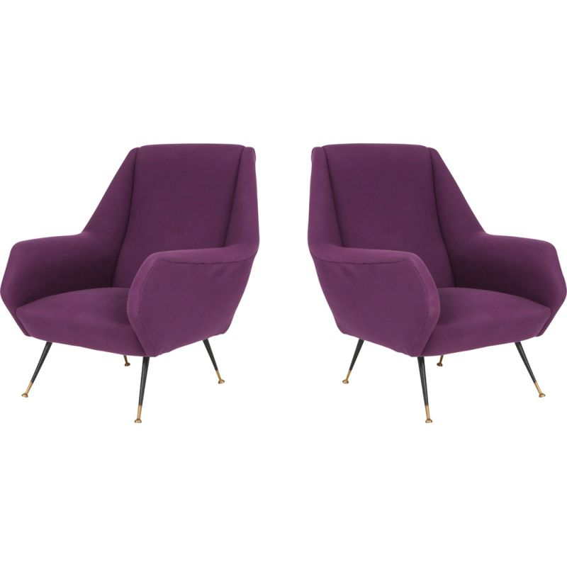 Vintage pair of easy chairs with purple upholstery 1950s