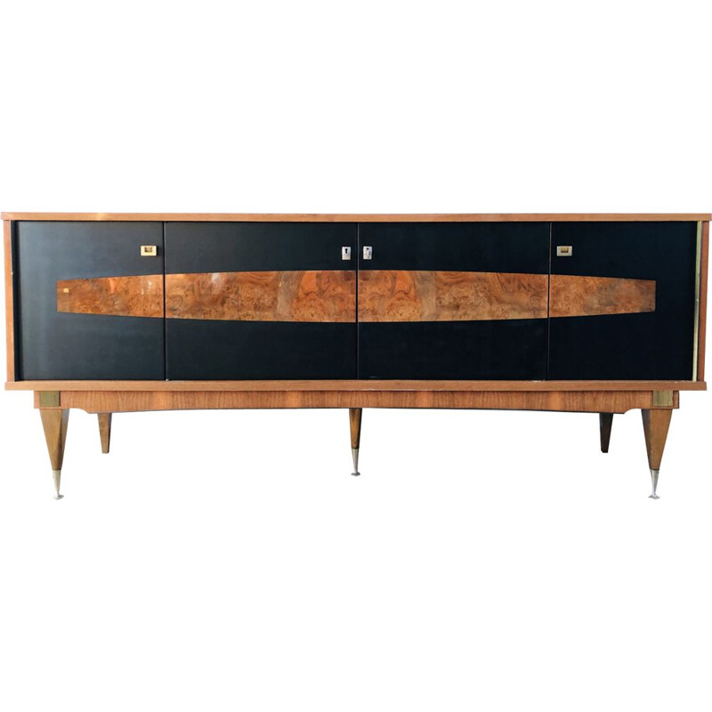 Vintage French walnut sideboard with 4 doors