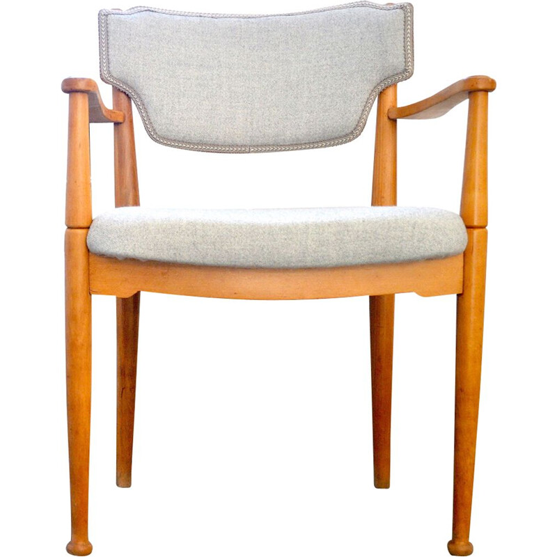 Vintage teak chair in grey wool