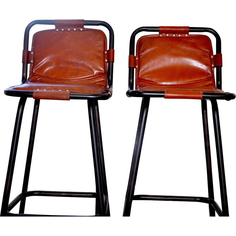 Vintage pair of leather stools