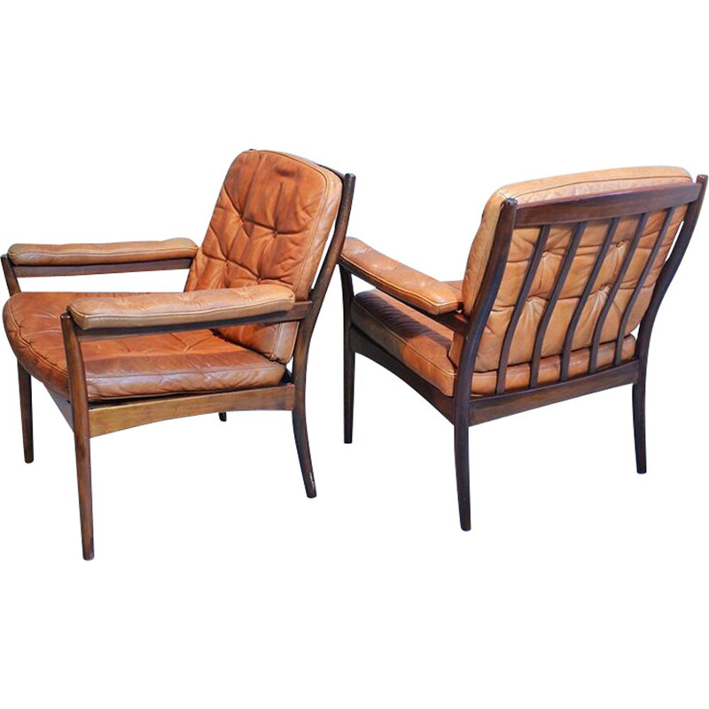 Vintage pair of wood & leather armchairs from Göte Möbler, 1960s