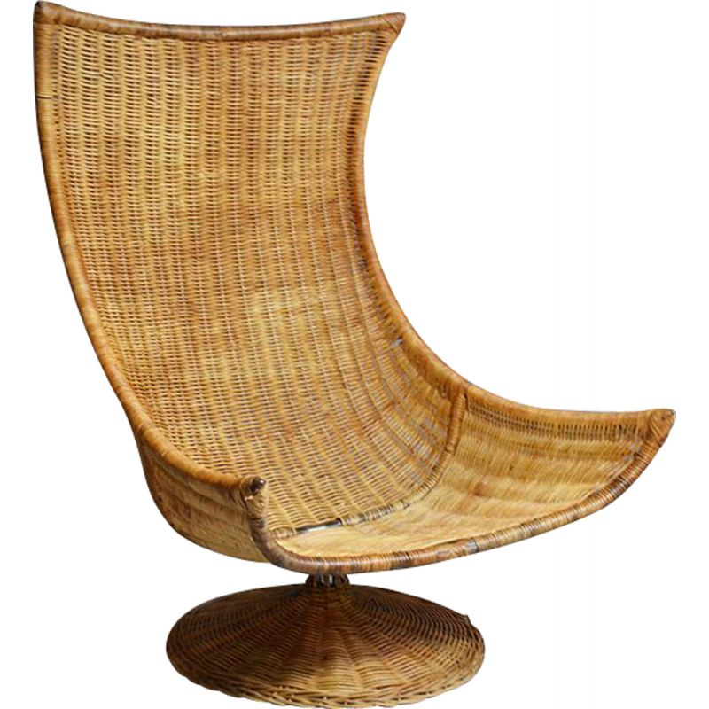 Vintage rattan swivel lounge chair By Gerard Vd Berg For Montis, 1970s