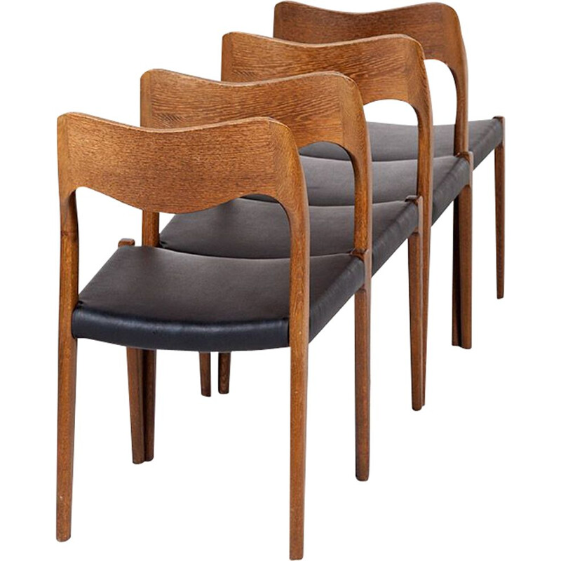 Vintage set of 4 No. 71 Dining Chairs by Niels Otto Møller for J.L. Møllers, 1960s
