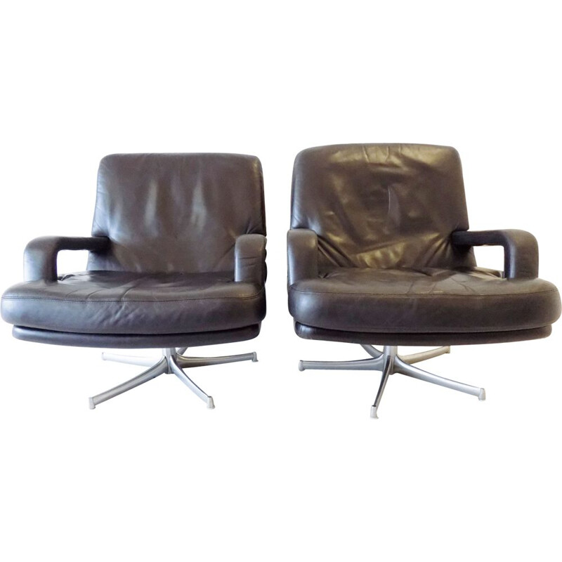 "Vintage pair of black Walter Knoll ""Don"" chairs by Bernd Münzebrock"