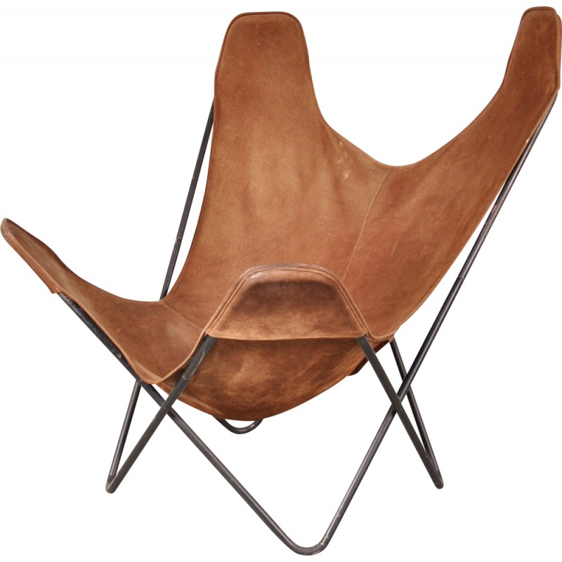Knoll Butterfly Chair In Metal And Leather, Jorge F. HARDOY   1960s