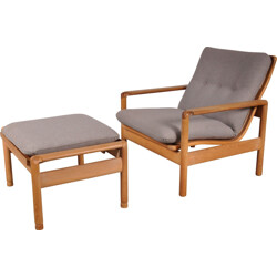 Danish Mobler MS oak armchair with adjustable footrest - 1960s