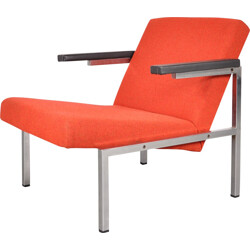 Vintage easy chair in chrome and fabric, Martin VISSER - 1960s