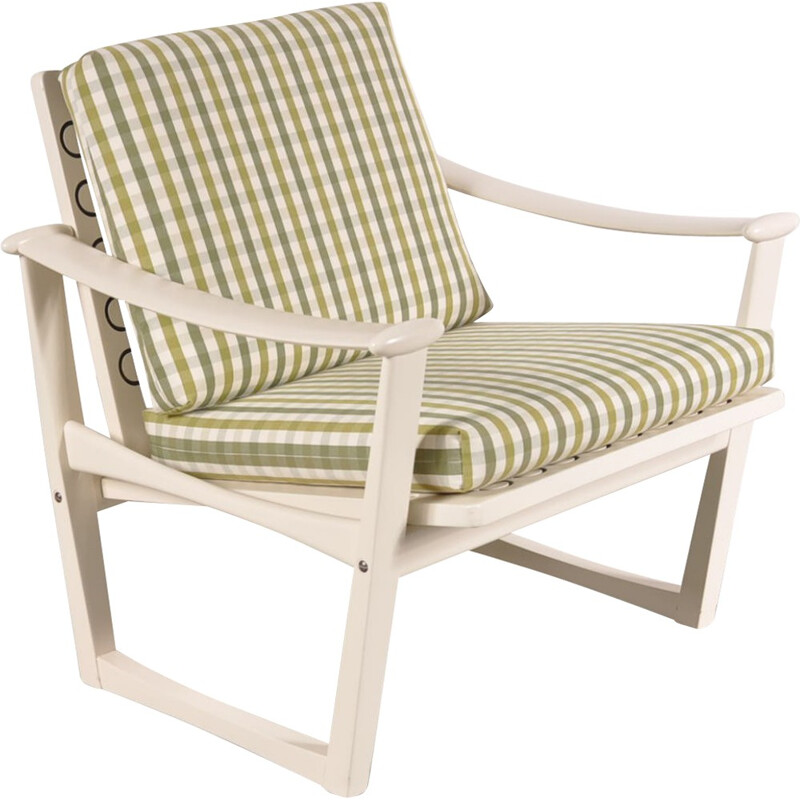 Vintage easy chair in wood and checkered fabric, Finn JUHL - 1960s