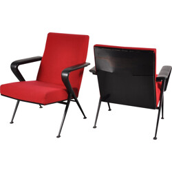 """Vintage set of two """"Repose"""" easy chairs in red fabric, Friso KRAMER - 1950s"""