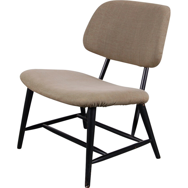 "Scandinavian ""TeVe"" low chair in grey fabric and wood, Alf SVENSSON - 1950s"