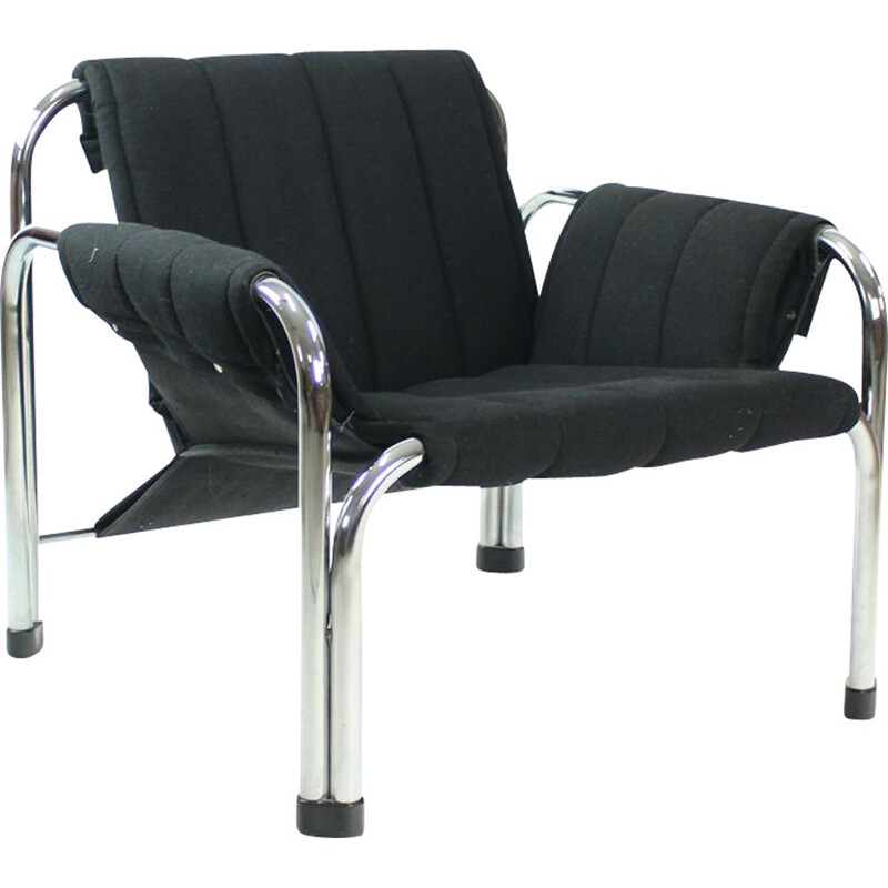 Vintage lounge chairs in black fabric & chrome, Jaroslav Hrescak, Czechoslovakia 1980s