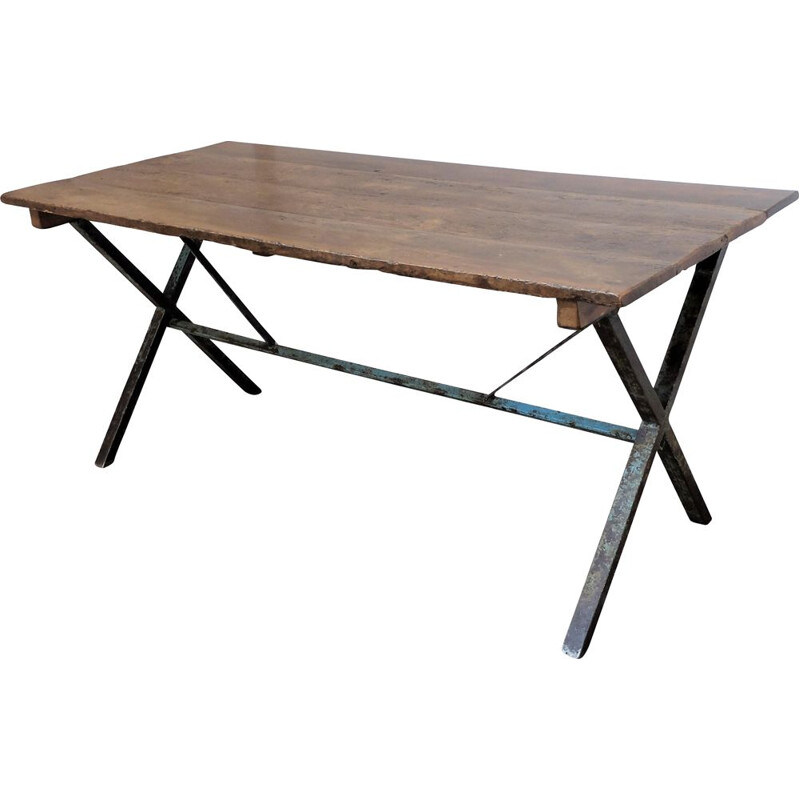 Vintage industrial crosslegged table