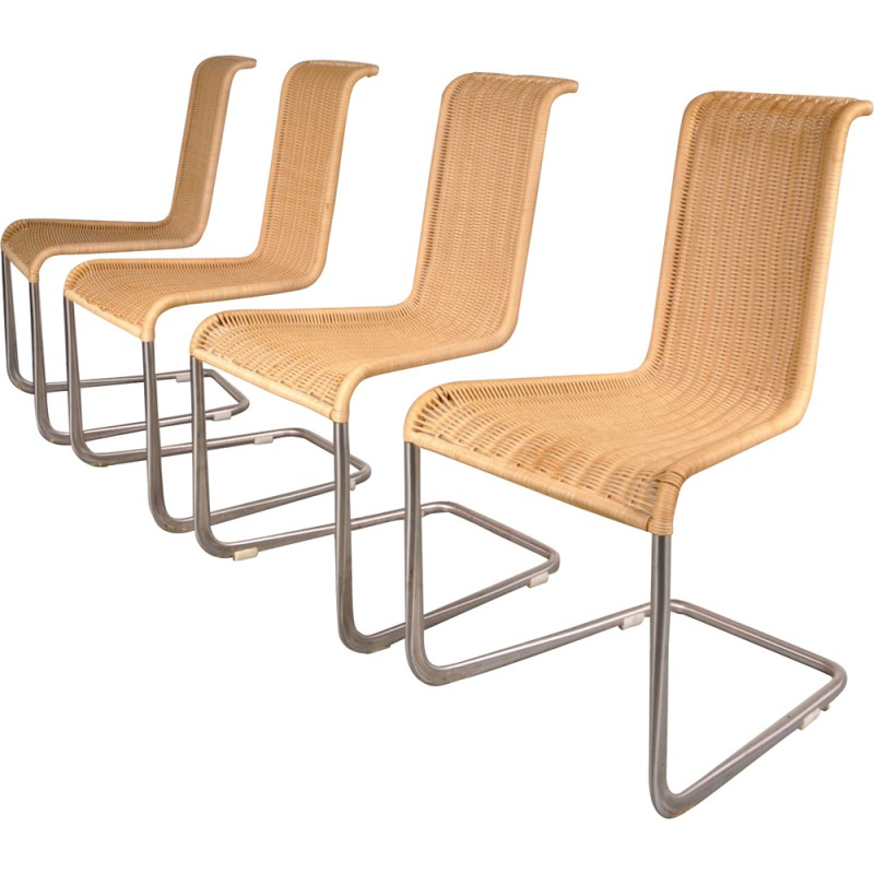 de9ea3edba7b5 Set of four dining chairs in wicker and chrome metal - 1970s ...